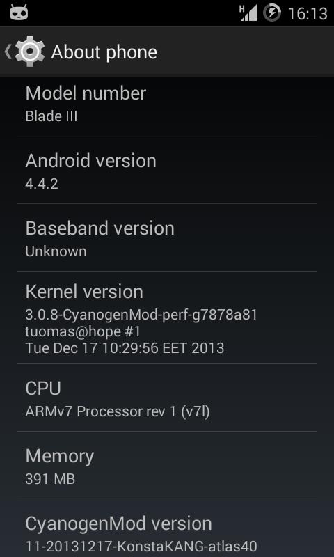 DEV][ROM][2 7 ] CyanogenMod 11 (Android 4 4 4) - ZTE Blade 3